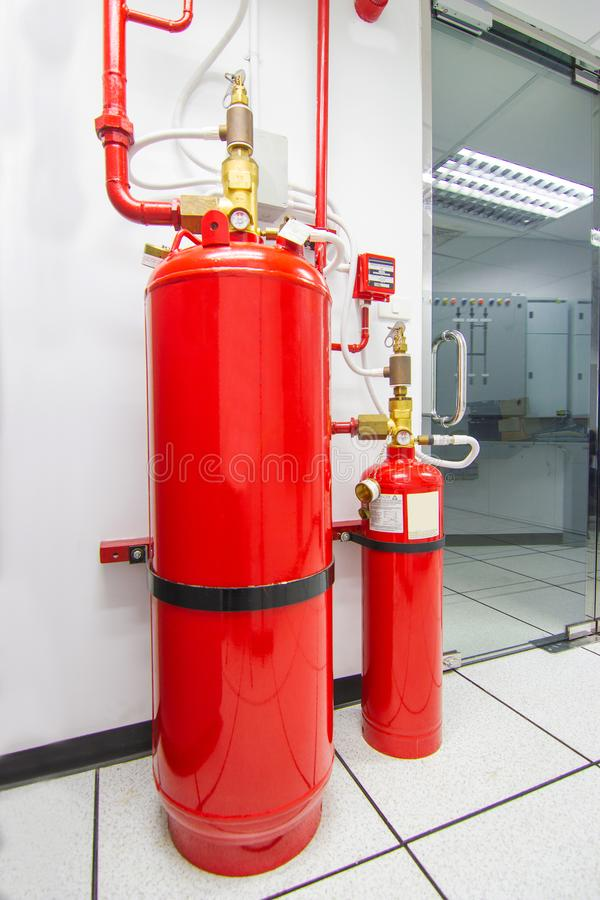 FM-200 systemów stłumienie, FM200 gazu wylew system, Benzynowy stłumienie systemu obrazy royalty free