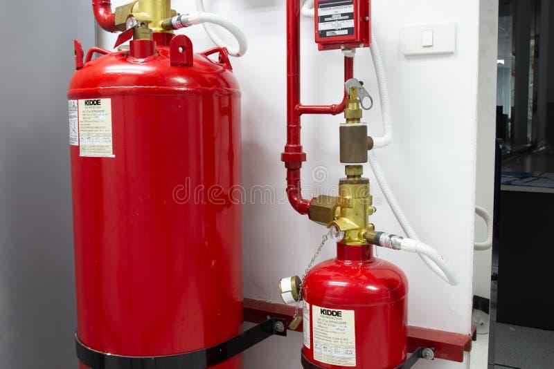 FM-200 systemów stłumienie, FM200 gazu wylew system zdjęcia stock
