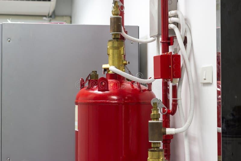 FM-200 systemów stłumienie, FM200 gazu wylew system, Benzynowy stłumienie systemu obraz stock
