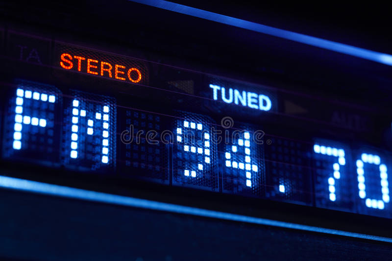 FM tuner radio display. Stereo digital frequency station tuned. stock photo