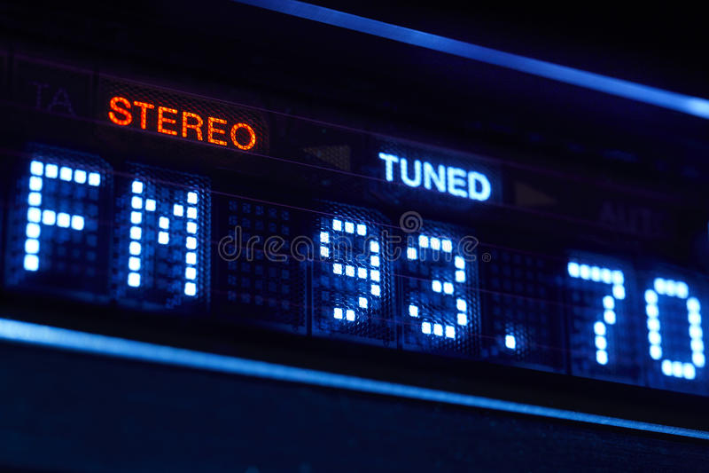 FM tuner radio display. Stereo digital frequency station tuned. stock photography