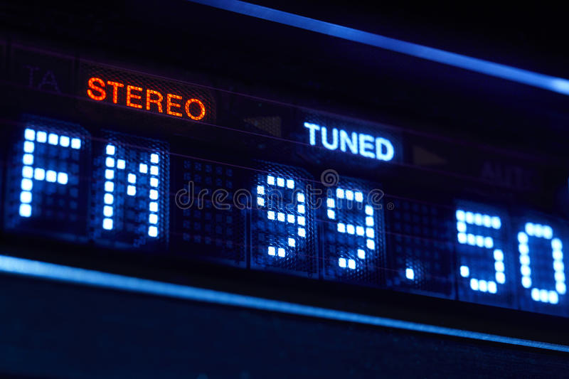 FM tuner radio display. Stereo digital frequency station tuned. royalty free stock photography