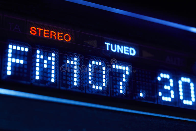 FM tuner radio display. Stereo digital frequency station tuned royalty free stock photos