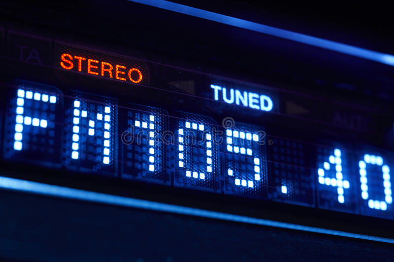 FM tuner radio display. Stereo digital frequency station tuned. royalty free stock photos