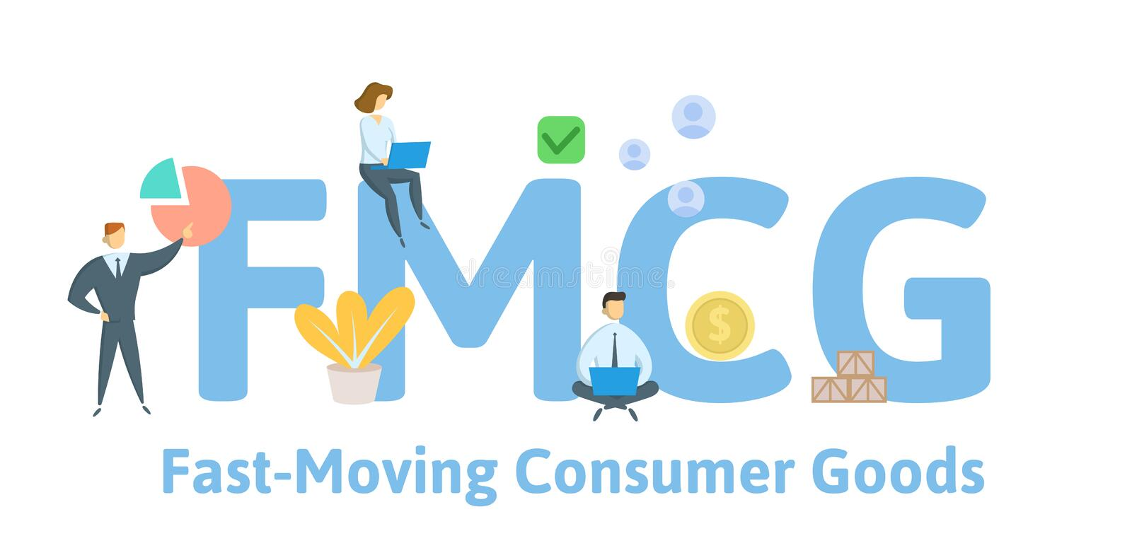 FMCG, Fast Moving Consumer Goods. Concept with people, letters and icons. Flat vector illustration. Isolated on white vector illustration