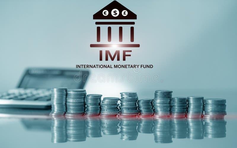 FMI (fondo monetario internazionale) Fondo monetario internazionale Concetto di attività bancarie e di finanza immagine stock