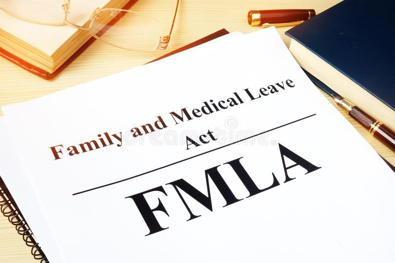 FMLA-Familien-und medizinischerurlaub-Tat lizenzfreie stockbilder