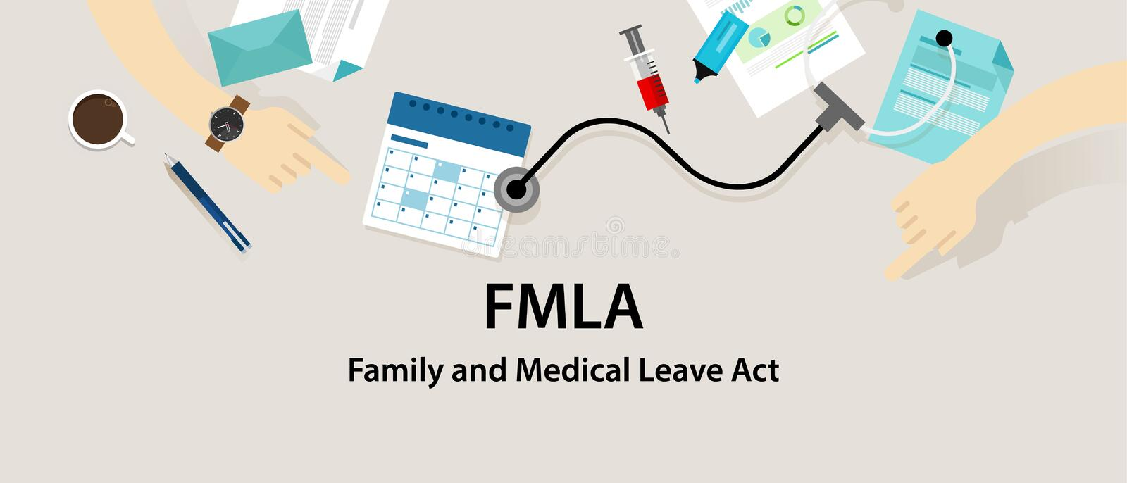 FMLA Family and Medical Leave Act royalty free illustration