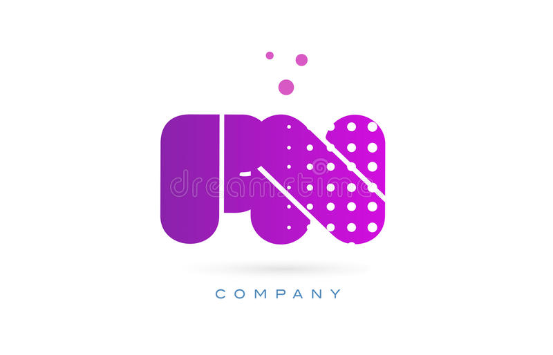 fn f n pink dots letter logo alphabet icon stock vector