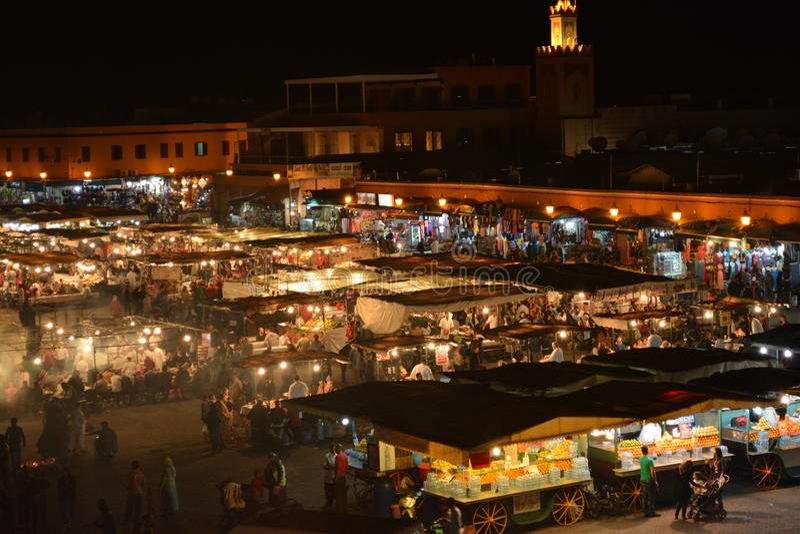 Fna Marrakesh, Marocco di EL di Jamaa immagini stock