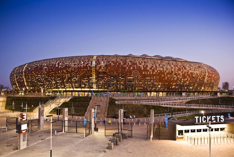 FNB Stadium - National Stadium (Soccer City). Now known as FNB Stadium, or The National Stadium (and formerly known as Soccer City), situated in Nasrec, Soweto royalty free stock image