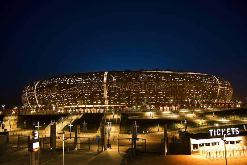 FNB Stadium - National Stadium (Soccer City). FNB Stadium, or The National Stadium (and formerly known as Soccer City), situated in Nasrec, Soweto, Johannesburg stock photo