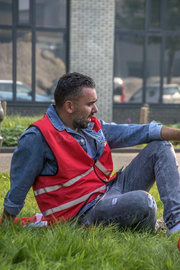 FNV联盟会员Trigion罢工的穆罕默德Gafki在阿姆斯特丹荷兰2018年 免版税库存图片