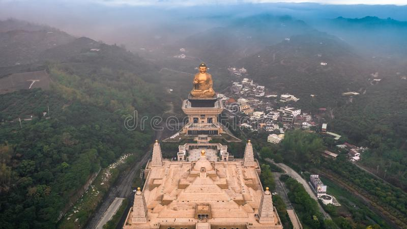 FO Guang Shan Buddha Memorial Center, Kaohsiung mit chinesischem Schriftzeichen stockbild
