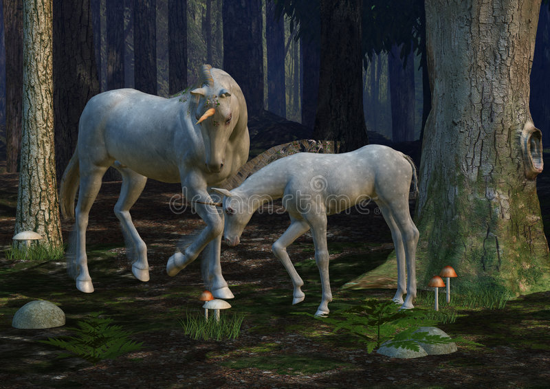 foal μονόκερος μητέρων απεικόνιση αποθεμάτων