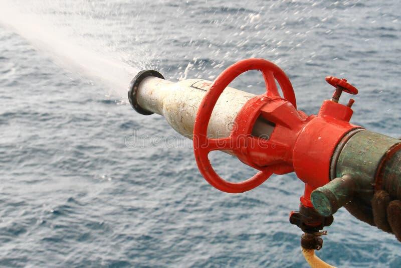 Foam applicator nozzle test. Foam applicator for extinguish the fire test stock photos