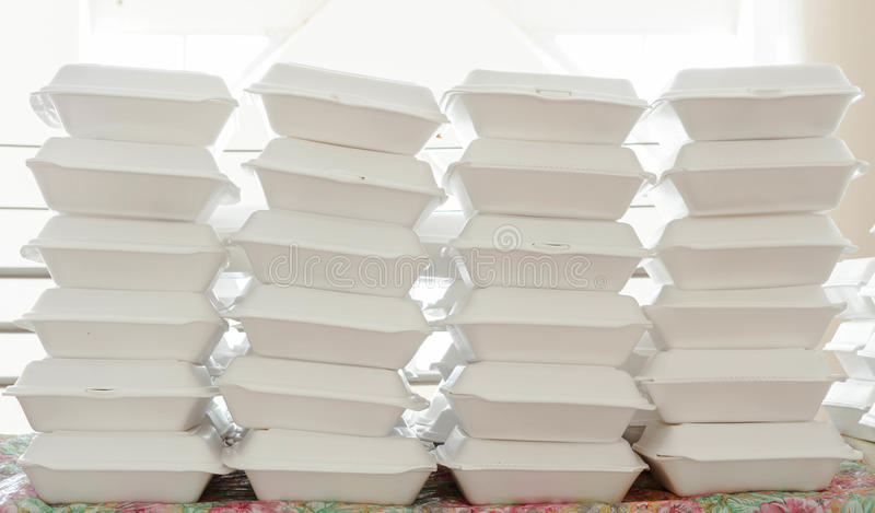 Foam boxes. Stacks of foam boxes - environmental problem concept royalty free stock image