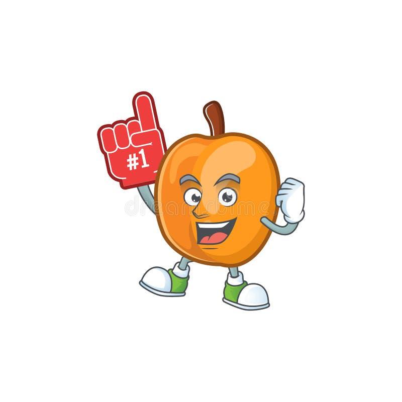 Foam finger apricot fruit in the cartoon shape. Vector illustration stock illustration