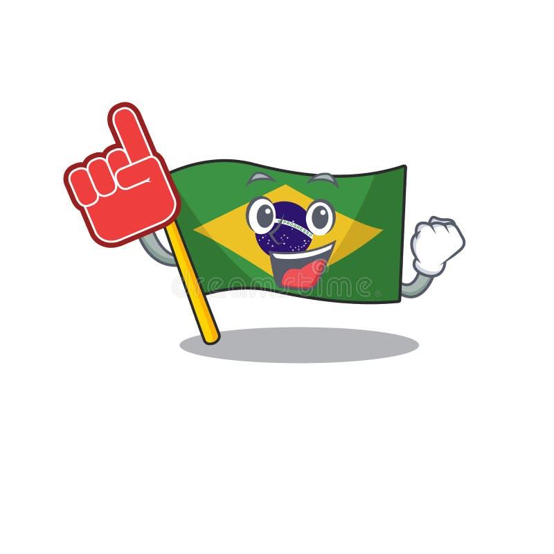Foam finger brazil flag kept in mascot drawer. Illustration vector vector illustration