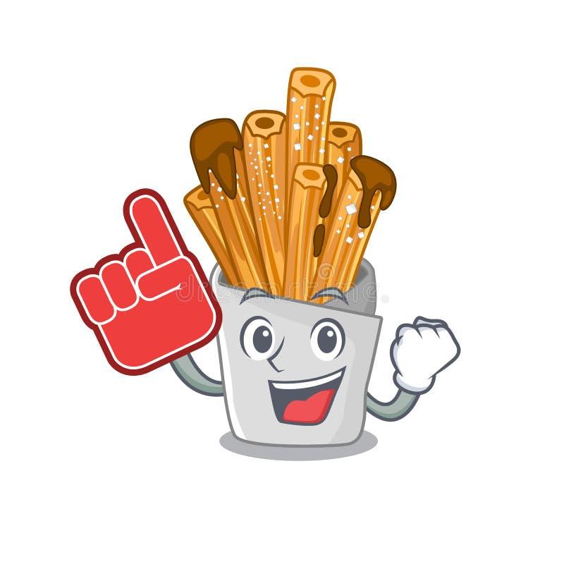 Foam finger churros in the wooden character jar. Vector illustration vector illustration
