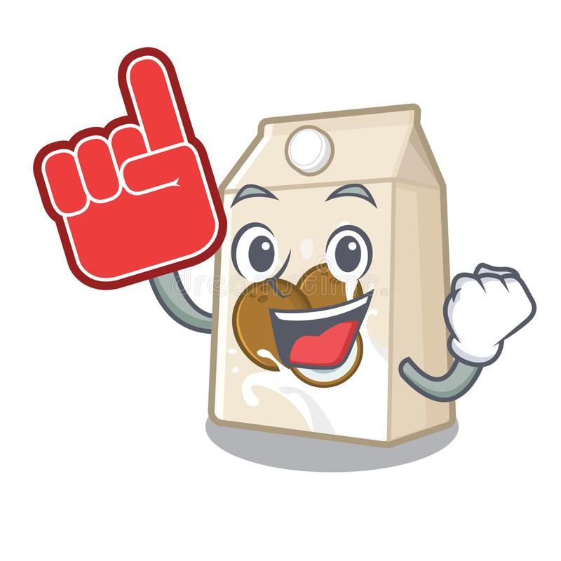 Foam finger coconut milk poured in cartoon glass. Vector illustration royalty free illustration
