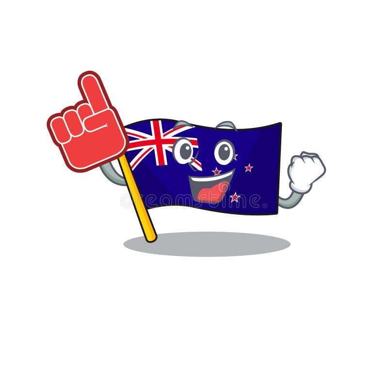 Foam finger flag new zealand in cartoon drawer. Vector illustration stock illustration