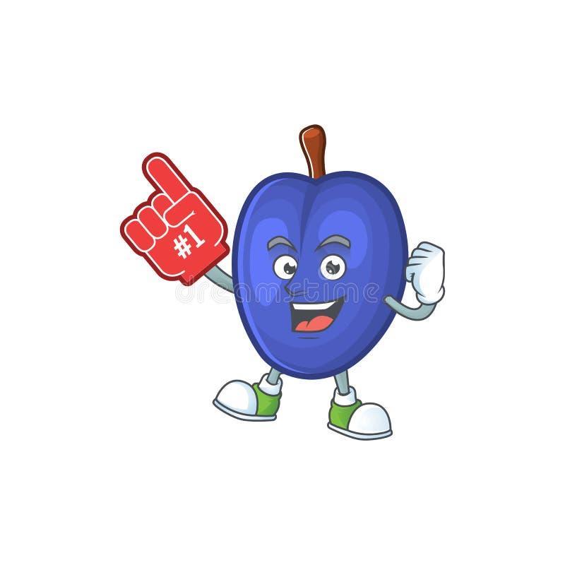 Foam finger fruits prune character on white background. Vector illustration vector illustration