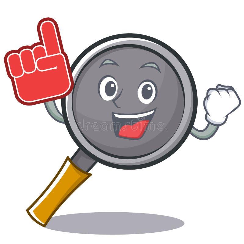 Foam finger frying pan cartoon character. Vector illustration vector illustration