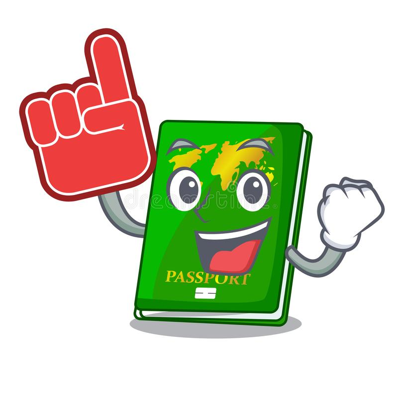 Foam finger green passport on the mascot table royalty free illustration