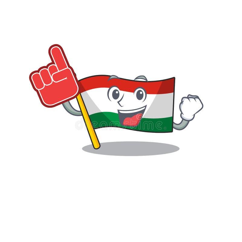 Foam finger hungary flag folded in character drawer. Vector illustration stock illustration
