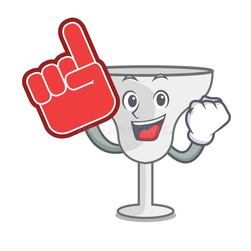 Foam finger margarita glass mascot cartoon. Vector illustration royalty free illustration