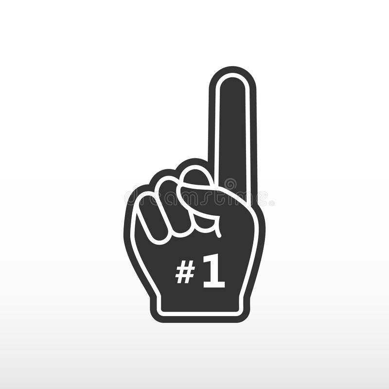 Foam finger. Number 1, black glove with finger raised flat, fan hand. Vector icon royalty free illustration