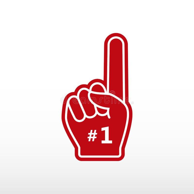 Foam finger. Number 1, glove with finger raised flat, fan hand. royalty free illustration