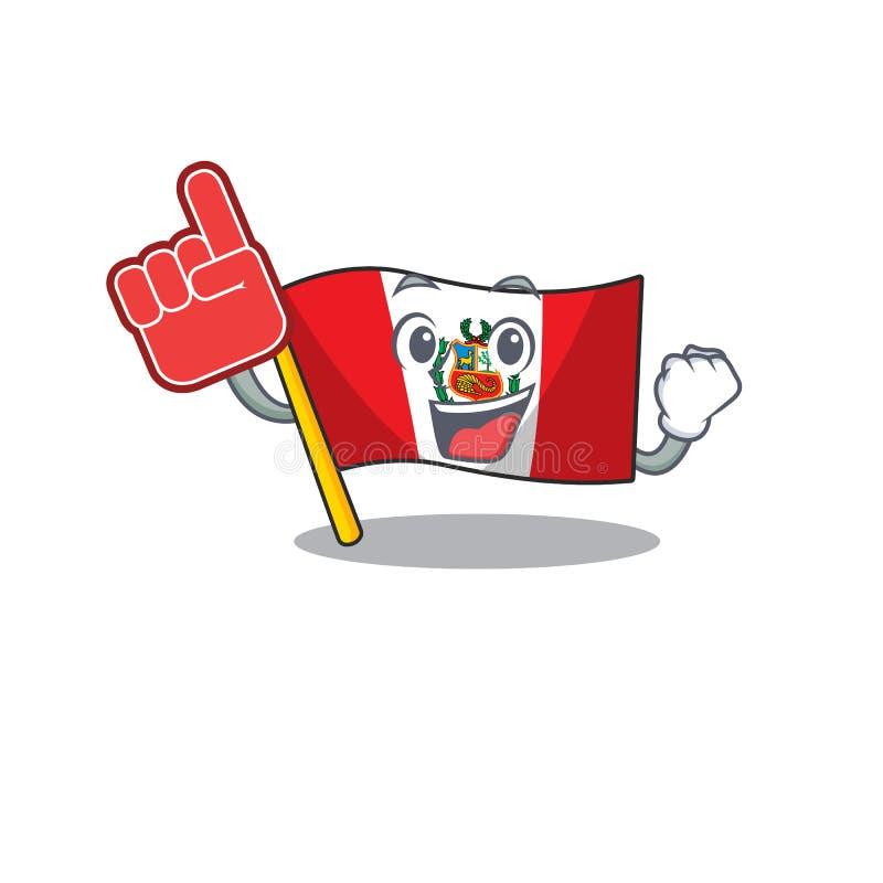 Foam finger peru flag stored in character drawer. Vector illustration vector illustration