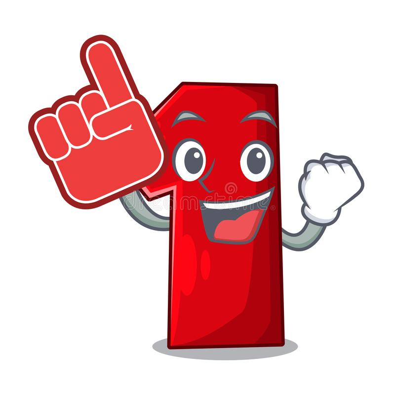 Foam finger plastic number one isolated on mascot royalty free illustration
