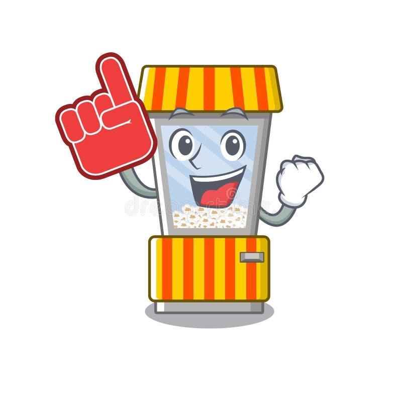 Foam finger popcorn vending machine in mascot shape. Vector illustration stock illustration