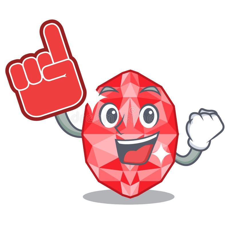 Foam finger ruby gems in the mascot shape. Vector illustration royalty free illustration