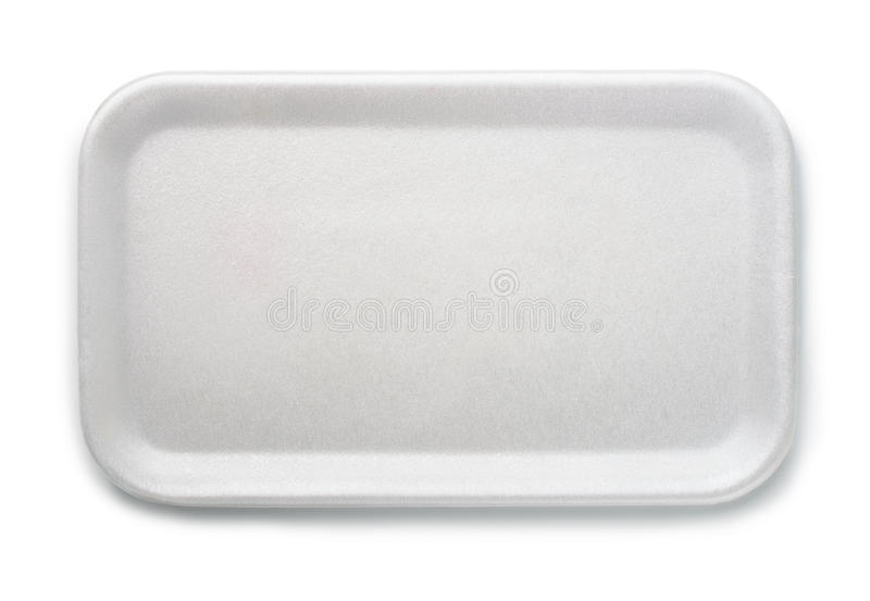 Foam food tray. Top view of empty foam food tray isolated on white stock photo