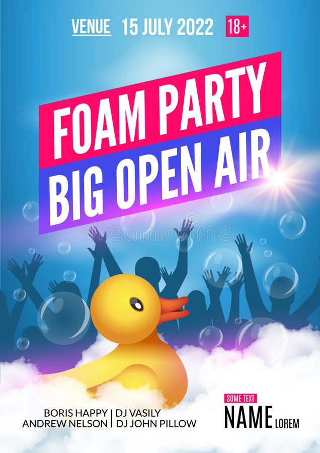 Foam Party summer Open Air. Foam party poster or flyer design template with people silhouettes and duckling toy stock illustration