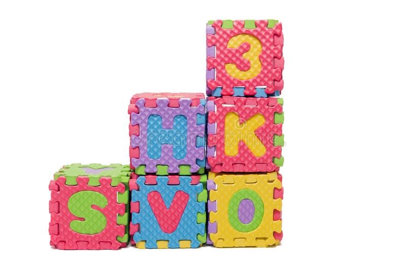 Foam puzzle letter cubes stock photo