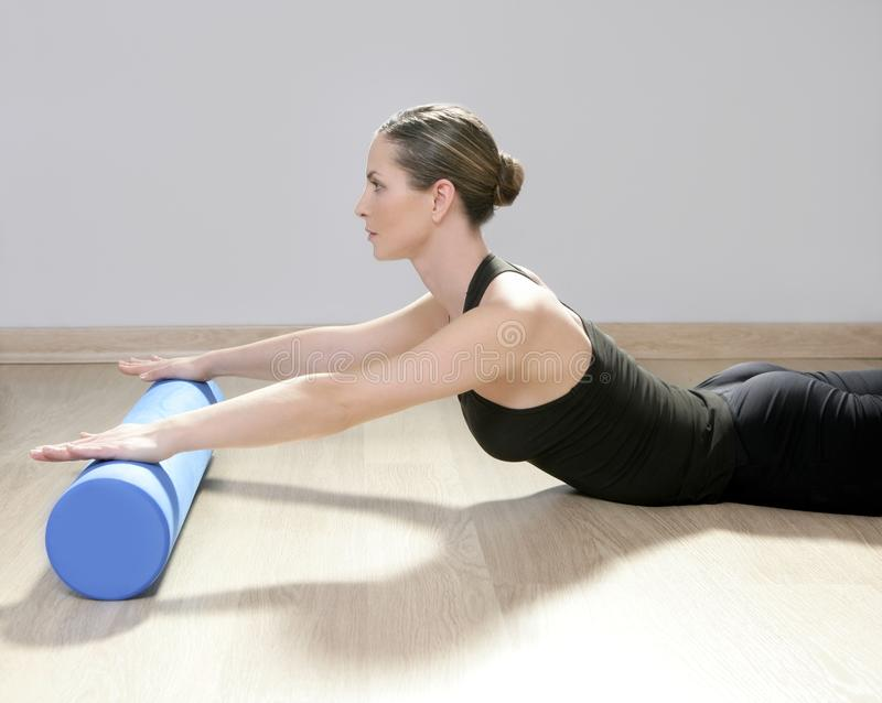 Foam Roller Pilates Woman Sport Gym Fitness Stock Images