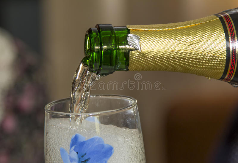 Foamy champagne in a glass. Foamy champagne flows in a glass stock images