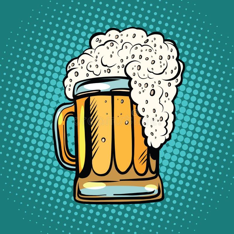 Foamy mug of beer pop art retro vector illustration