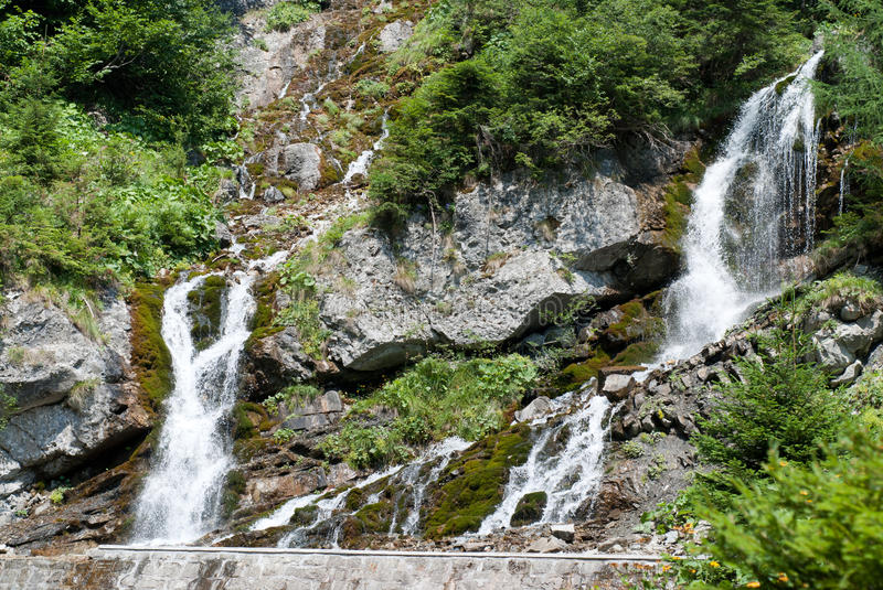 Foamy valley. Waterfall in bucegi mountains in the carpathians royalty free stock images