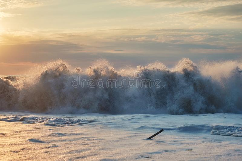 Foamy wave. At the sunset beach stock photography