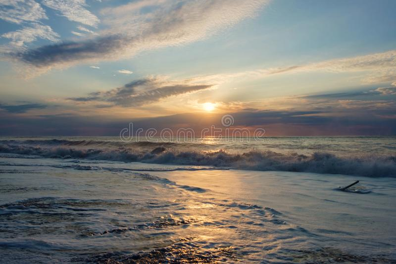 Foamy wave. At the sunset sandy beach stock images