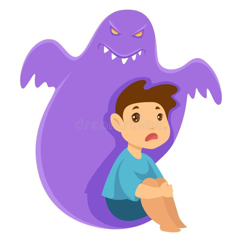 Fobia di incubo del mostro e del bambino e creatura immaginaria royalty illustrazione gratis