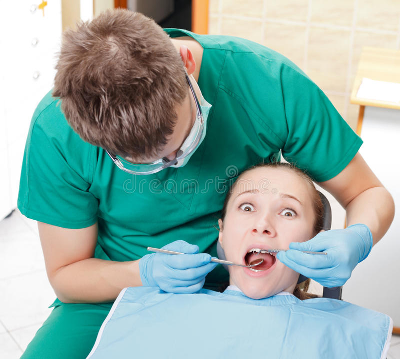 Fobia y ansiedad dentales fotos de archivo libres de regalías