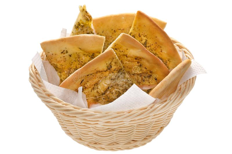 Focaccia in a basket isolated stock photos