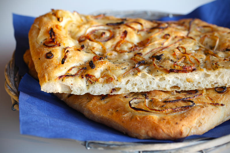 Focaccia bread with onions and thyme royalty free stock images